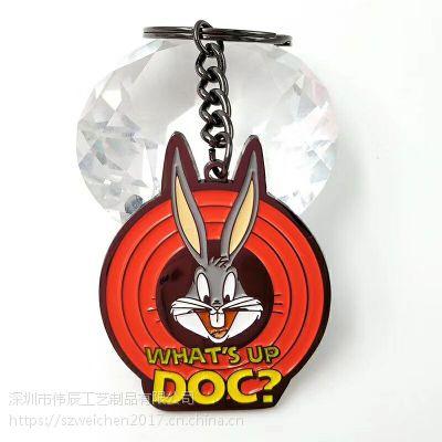 兔子动漫烤漆钥匙扣,金属合金礼品锁匙扣,北京钥匙扣生产