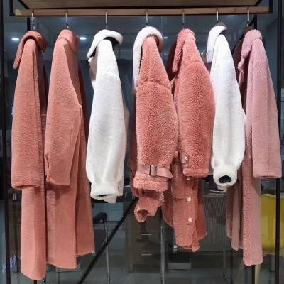 颗粒羊绒大衣19冬海宁羊剪绒皮草外套 工厂一手货源尾货女装剪标折扣批发