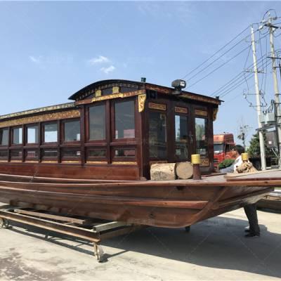浙江温州木船厂家定制10米防腐景观红船