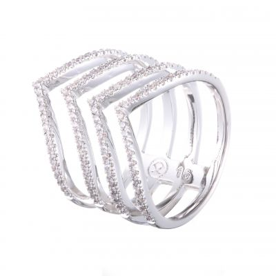 伊泰莲娜品牌专供外贸微镶锆石镂空电镀白金铜戒指 s925纯银戒指首饰来图定制