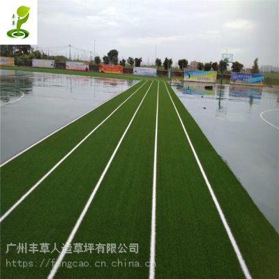 学校操场运动跑道红绿色人造草坪2.5公分PE材质跑道塑料地毯草