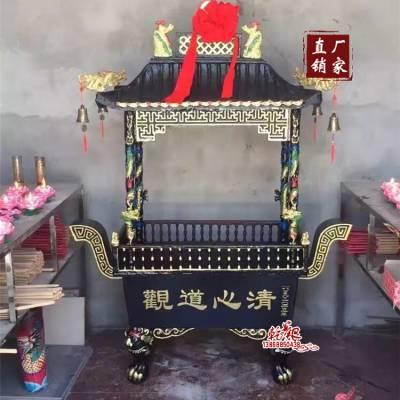 寺庙大香炉铸铁寺院长方形四龙柱防雨带盖香炉景区铜香炉户外宗祠