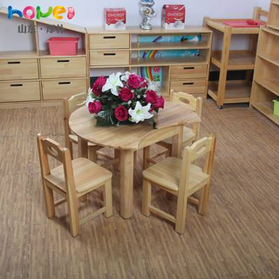 幼儿园家具厂家直销 山东厚朴幼儿园实木月牙儿童创意小桌子