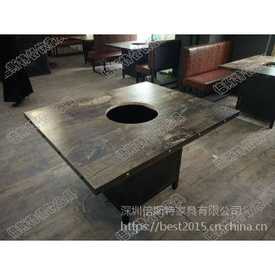 倍斯特美式乡村复古工业风防火板餐桌创意中餐烤肉火锅店厂家定做