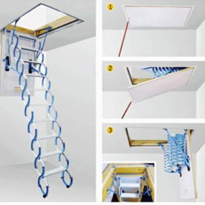 辽宁上下拉隐形阁楼伸缩折叠梯电话 产量大 耗能低