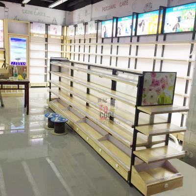 广州化妆品展柜厂家 美妆店护肤洗护展示柜台新款钢木货架展示架