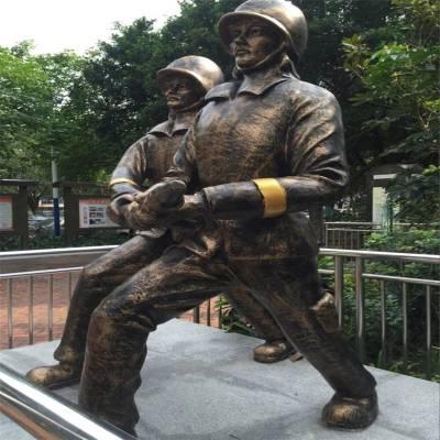 消防主题雕塑 中山玻璃钢消防人物雕塑