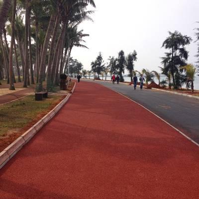 汕头城市绿道项目承接,公园人行道施工,休闲场地防滑地面-小区彩色地面图案设计