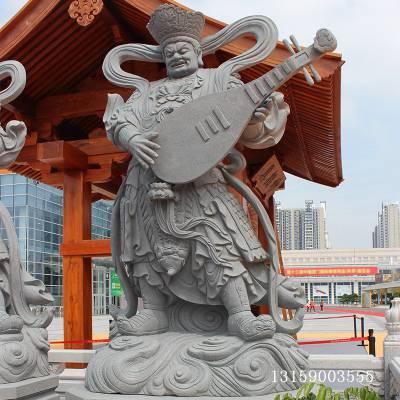 供应惠安石雕四大天王 花岗岩寺庙护法神将雕塑 四大金刚