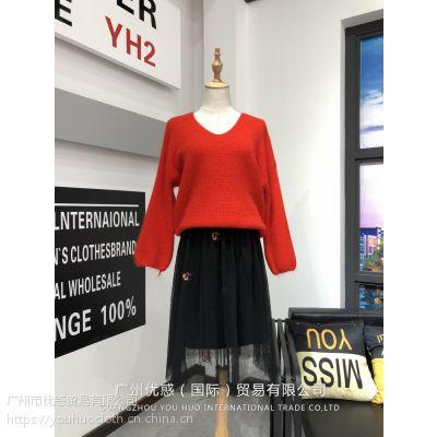 新款兔绒毛衣女装上衣批发 厂家直销一手货源品牌尾货走份
