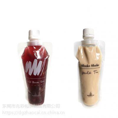 铝箔吸嘴袋厂家 手摇奶茶大口径吸嘴袋定做 透明自立吸嘴袋牛奶袋