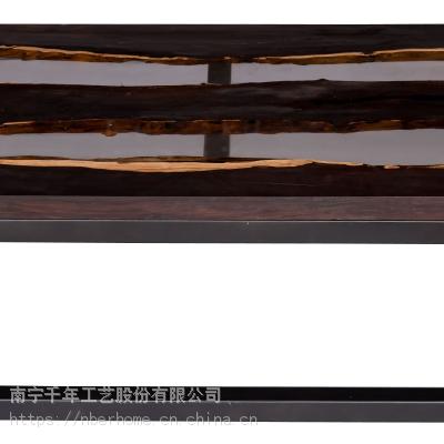 黑檀木家具新中式家具现代简约创意家具咖啡桌亚克力透明树脂实木桌子