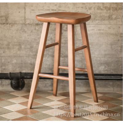 倍斯特简约现代实木吧椅创意中餐快餐厂家定制