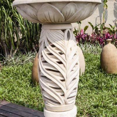深圳大理石石雕花钵 花园景观装饰石材花钵加工