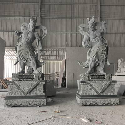 供应石雕哼哈二将 寺庙大理石佛像雕刻 佛教人物雕塑