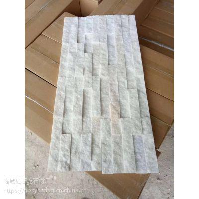 供应石屹家装建材外墙装饰文化石,白色环保白石英文化石,雪花白5条胶粘板