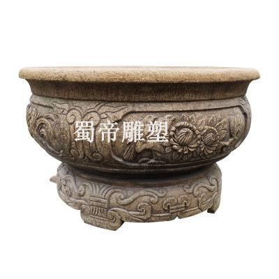 惠安厂家直销石雕仿古鱼缸 别墅庭院古缸做旧鱼缸水缸雕刻摆件摆设