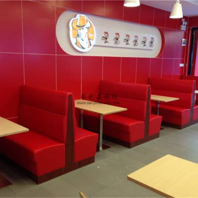 黄冈汉堡店家具厂家,时尚汉堡店卡座沙发桌子组合效果