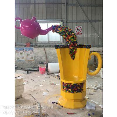 佛山银辉玻璃钢雕塑厂家 定做奶茶玻璃杯雕塑