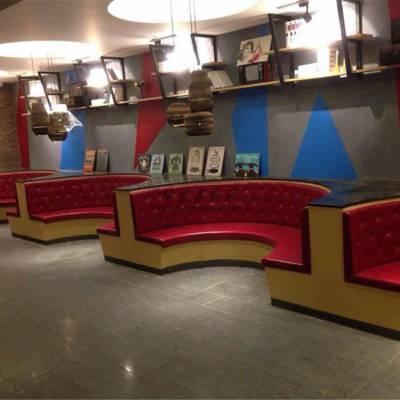 深圳弧形卡座沙发定做,菜馆弧形板式卡座沙发案例实拍