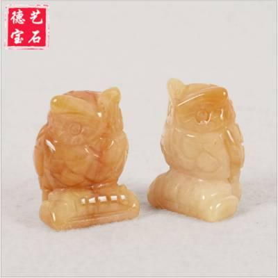 天然宝石动物摆件黄玉石纯手工猫头鹰雕刻工艺品优质水晶摆件批发