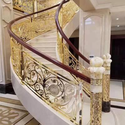 亳州高端别墅铜楼梯护栏图片 别墅铜雕花楼梯 质量保证