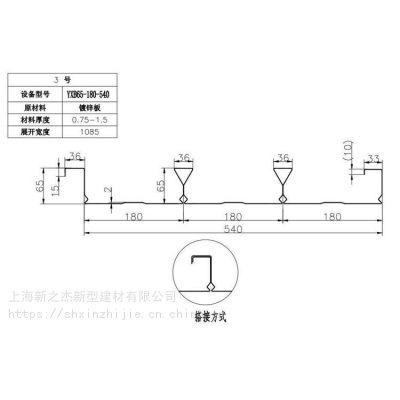 马鞍山Q345材质闭口楼承板(YX65-180-540)厂家直销