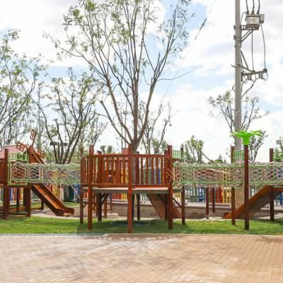 儿童户外拓展乐园设备 田园木质树屋滑梯 幼儿园户外设施 原木不锈钢滑梯定制 北京同兴伟业直销定制