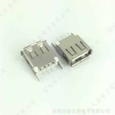 立式直脚 USB母座 A型母座/母头 4P USB直插插座 立式插板 180度