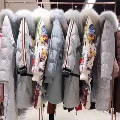 你我约定19冬女90白鸭绒长款羽绒服 杭州品牌专柜***女装折扣批发