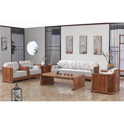 木言木语中式实木家具厂家 高品质环保黄菠萝木高档家具沙发