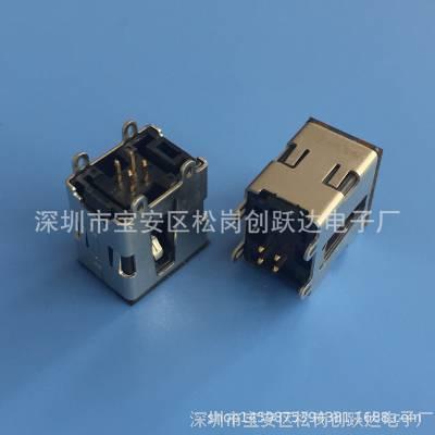 车用吉利USB插座 AF-4P/180度立式直插 4个固定脚插板dip 帝豪EC7