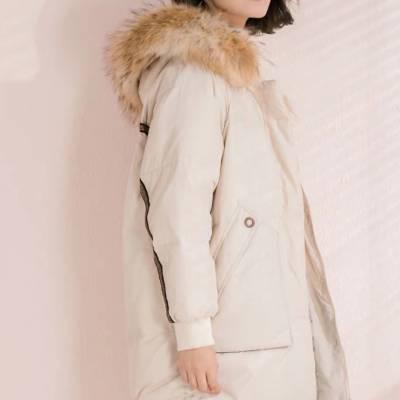 第五朵全毛领羽绒服广州一线品牌女装尾货货源批发冬天高档女装一手货源
