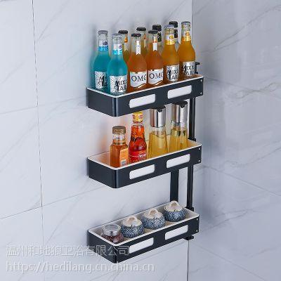 太空铝旋转厨房置物架壁挂多层黑色转角调味架调料收纳架厨具用品