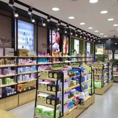 护肤品洗护用品化妆品展柜定制 高档钢木化妆品展示柜展柜厂家
