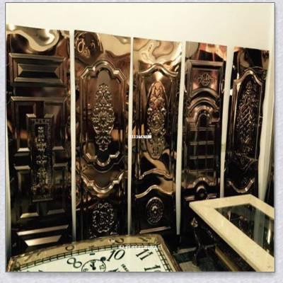 高档不锈钢压花板 幕墙背景墙水波纹 精磨8K镜面凹凸压花板