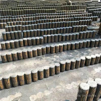 河道水利工程水泥仿木桩 仿树皮树桩石围栏护栏