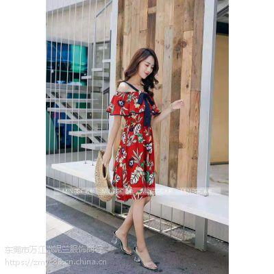 供应杭州高端品牌名歌淑女红色连衣裙现货均码