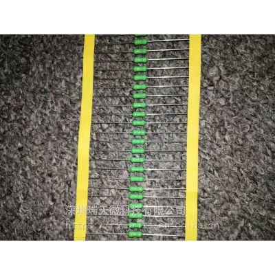 电阻式保险丝2F5A250V绿色快断型2.7*7MM环氧树脂 UL,CSA