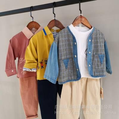 重庆品牌童装折扣尾货韩版秋冬装外套挑款服装批发市场