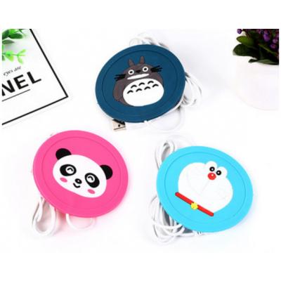 创意卡通动物硅胶杯垫 桌面USB插口发热保温杯垫,创意小礼品