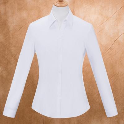 贵州高端女衬衣,商务衬衫,行政夏装,MTV-164白色弹力棉V字领长袖女衬衣