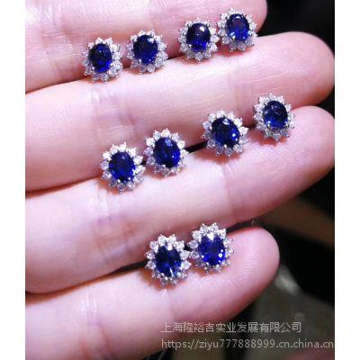 批发彩色宝石蓝宝石耳钉工厂出厂价一手货源保证出售优惠大品质好