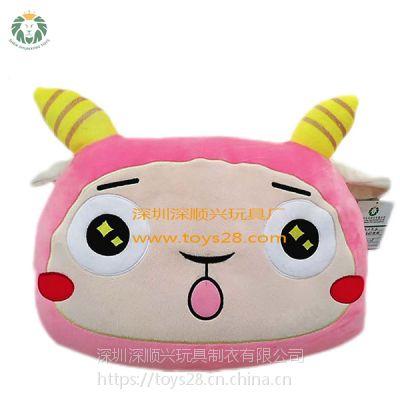 深顺兴毛绒玩具厂玩具公仔定制毛绒抱枕42*30卡通泡沫粒子粉色羊抱枕
