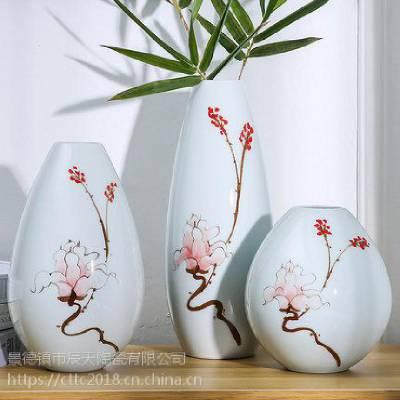 景德镇陶瓷三件套花瓶 欧式客厅花插器 现代时尚工艺品摆件摆设