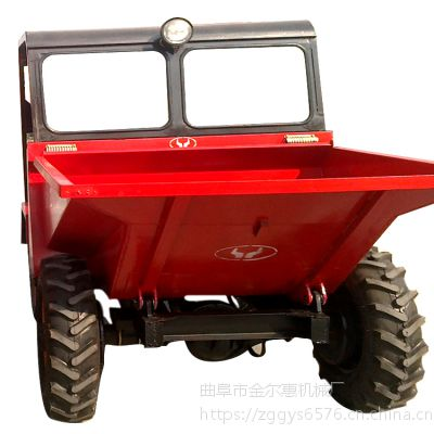 陕西有卖加厚材质的翻斗车 _四轮大容量工程翻斗车价格_25型马力装载机