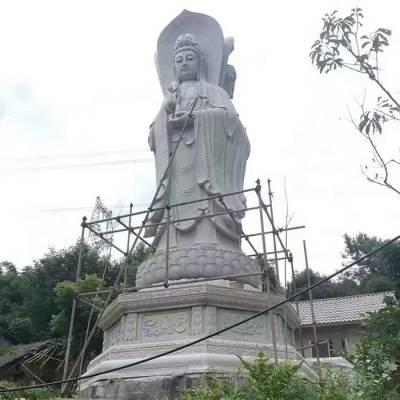 石雕三面观音 寺庙大型石雕观音定制