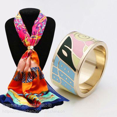 圆筒戒子状围巾圈定制,珐琅丝巾扣生产,北京丝巾扣制作厂
