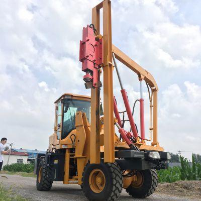 波形液压护栏打桩机厂家 贵州修路用的冲击钻护栏压桩机价格
