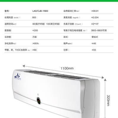 医用 壁挂式空气消毒器 处理风量:800m3/h 适用空间100m3 等离子 光电催化技术